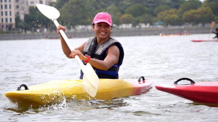 Evelyn kayaking